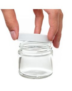 2 oz. Glass Salve Jar: Clear with White Lid