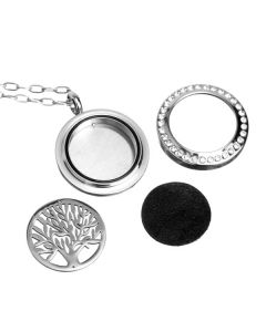 Stainless Steel Diffusing Twist Locket: Tree of Life, with Crystals