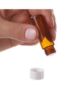 1 dram Vial: Amber Glass with Orifice Reducer and White Cap (12 Count)