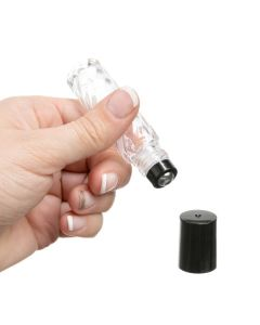 1/3 oz. Roll-on Vial: Swirled, Clear Glass with Metal Roller and Black Cap (6 Count)