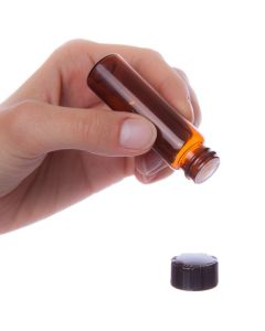 4 dram Vial: Amber Glass with Orifice Reducer and Black Cap (6 Count)
