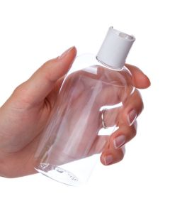 4 oz. Oval Bottle: Clear Plastic with White Disc-top Cap