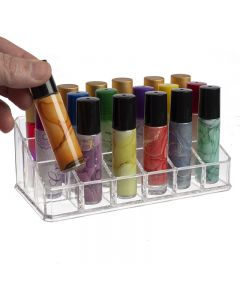 3-Tier Roll-on Display Riser: Clear Plastic (Holds 18 Vials)