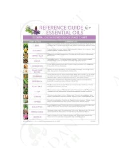 "Reference Guide ""Essential Oils and Blends Quick Usage Chart"" (25 Count)"