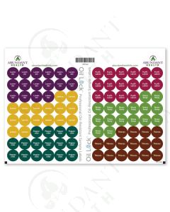 "Top 6 Oil Lock Preprinted Circle Labels: 1/2"" for Sample Vials (96 Count)"