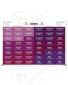 "Feelings Oil Lock Preprinted Rectangle Labels: 1-1/4"" x 1/2"" for Sample Vials (48 Count)"