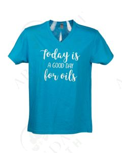 """Turquoise """"A Good Day for Oils"""" V-Neck Short-Sleeve Shirt"""
