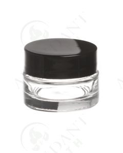 1/4 oz. Glass Salve Jar: Clear with Black Lid