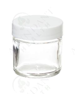 1 oz. Glass Salve Jar: Clear with White Lid