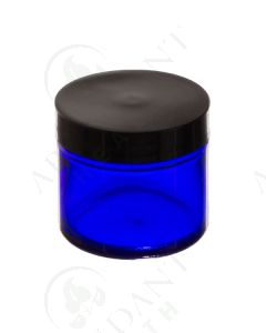 2 oz. Glass Salve Jar: Blue with Black Lid