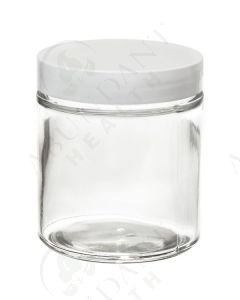 4 oz. Glass Salve Jar: Clear with White Lid
