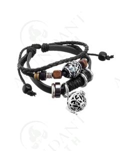 Aroma-ball Bracelet: Black Boho Leather