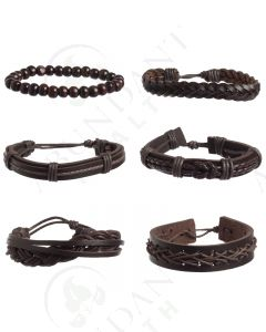 Leather Bracelet Set (6 Count)