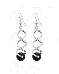 Earrings: Diffusing Lava Rock, Swirled