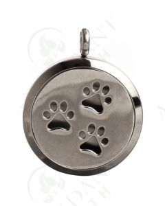 Stainless Steel Diffusing Locket: Paw Prints