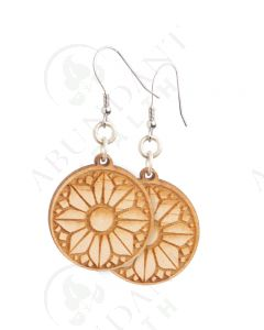 Earrings: Round, Wood Flower