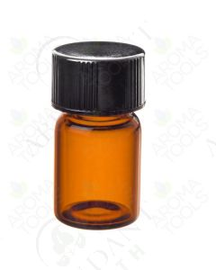 5/8 dram Sample Vial: Amber Glass with Orifice Reducer and Black Cap (12 Count)