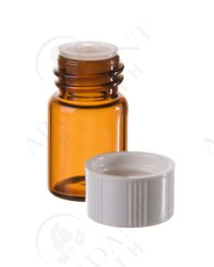 5/8 dram Sample Vial: Amber Glass with Orifice Reducer and White Cap (12 Count)