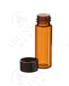 1 dram Vial: Amber Glass with Orifice Reducer and Black Cap (12 Count)