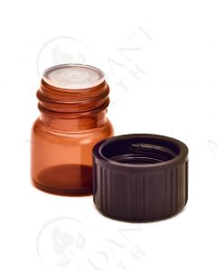 1/4 dram Sample Vial: Amber Glass with Orifice Reducer and Black Cap (12 Count)