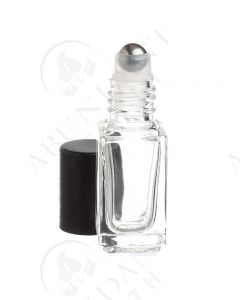 4 ml Roll-on Vial: Clear Square Glass with Metal Roller and Matte Black Cap (6 Count)