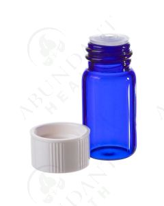 5/8 dram Sample Vial: Blue Glass with Orifice Reducer and White Cap (6 Count)