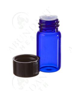 5/8 dram Sample Vial: Blue Glass with Orifice Reducer and Black Cap (6 Count)