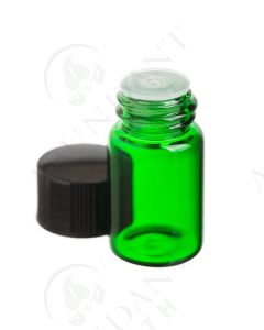 2 ml Sample Vial: Green Glass with Orifice Reducer and Black Cap (12 Count)