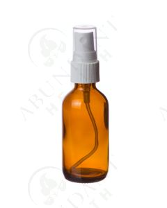 2 oz. Bottle: Amber Glass with White Misting Spray Top