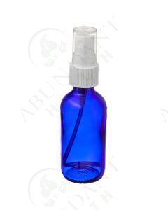 2 oz. Bottle: Blue Glass with White Misting Spray Top