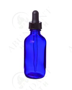 2 oz. Bottle: Blue Glass with Dropper Cap