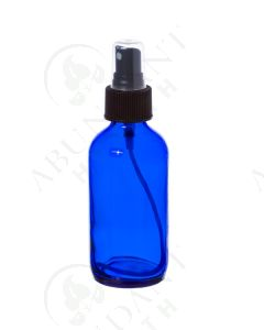 4 oz. Bottle: Blue Glass with Black Misting Spray Top
