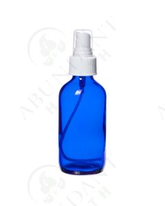 4 oz. Bottle: Blue Glass with White Misting Spray Top