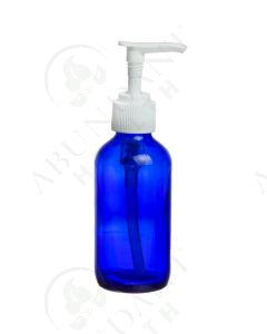 4 oz. Bottle: Blue Glass with White Pump Top