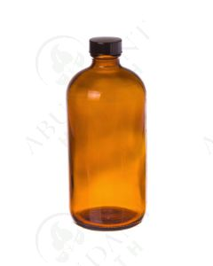 16 oz. Bottle: Amber Glass with Black Cap