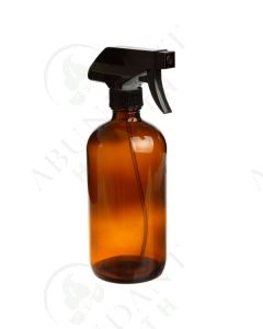 16 oz. Bottle: Amber Glass with Black Trigger Sprayer