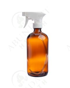 16 oz. Bottle: Amber Glass with White Trigger Sprayer