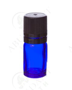 5 ml Vial: Blue Glass with Black Euro-style Cap and Orifice Reducer (6 Count)