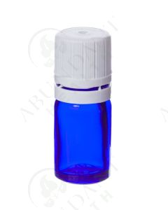 5 ml Vial: Blue Glass with White Euro-style Cap and Orifice Reducer (6 Count)