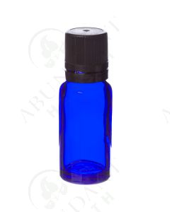 15 ml Vial: Blue Glass with Black Euro-style Cap and Orifice Reducer (6 Count)