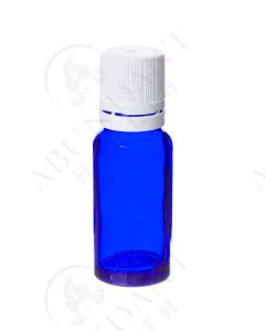 15 ml Vial: Blue Glass with White Euro-style Cap and Orifice Reducer (6 Count)