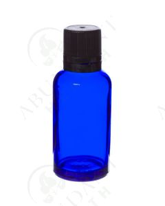 30 ml Vial: Blue Glass with Black Euro-style Cap and Orifice Reducer (6 Count)