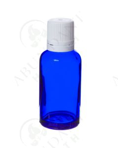30 ml Vial: Blue Glass with White Euro-style Cap and Orifice Reducer (6 Count)