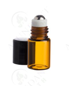 2 ml Roll-on Vial: Amber Glass with Metal Roller and Black Cap (12 Count)