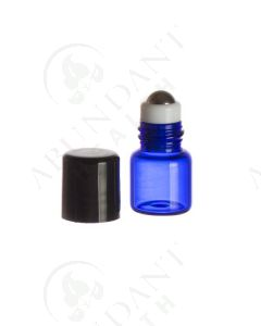 1 ml Roll-on Vial: Blue Glass with Metal Roller and Black Cap (6 Count)