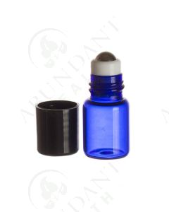 2 ml Roll-on Vial: Blue Glass with Metal Roller and Black Cap (6 Count)