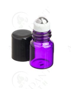 1 ml Roll-on Vial: Purple Glass with Metal Roller and Black Cap (12 Count)