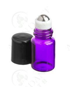 2 ml Roll-on Vial: Purple Glass with Metal Roller and Black Cap (12 Count)