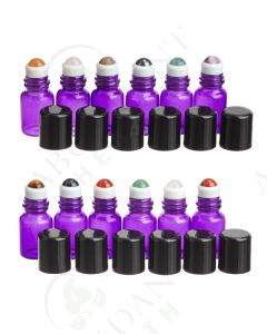 2 ml Roll-on Vial: Purple Glass with Gemstone Roller and Black Cap (12 Count)