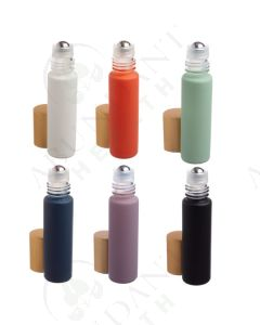 1/3 oz. Roll-on Vial: Complete Matte Collection Glass with Metal Roller and Gold Cap (6 Count)